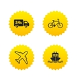 Cargo truck shipping bicycle Delivery service vector image vector image