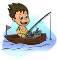 cartoon boy character fishing in rowboat vector image vector image