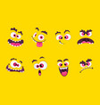 cartoon faces emotions smirk expressions smile vector image