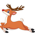 cartoon funny deer jumping vector image vector image