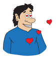 Cartoon man in love vector image vector image
