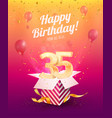 celebrating 35 th years birthday vector image