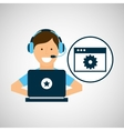 character headset laptop programming web page tool vector image