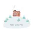 christmas card with house merry vector image vector image