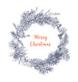 christmas wreath made of branches and cones of fir vector image vector image