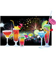 cocktails and fireworks vector image vector image