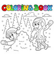 coloring book winter theme 2 vector image