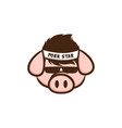 cool pig with sunglasses cartoon vector image vector image