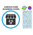 cow farm rounded icon with set vector image vector image