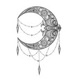 crescent moon tattoo drawn in entangle style vector image