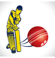 cricket player hit the ball vector image vector image