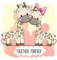 cute cartoon giraffes boy and girl vector image vector image