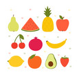 cute cartoon kawaii fruits healthy style vector image