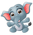 cute happy elephant cartoon vector image vector image