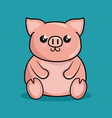 cute piggy character kawaii style vector image