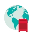 earth globe and mailbox icon vector image vector image