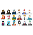 east men and women in masks character cartoon flat vector image vector image