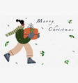 girl with a christmas gift greeting postcard vector image