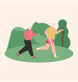 grandfather and grandmother jogging at park vector image