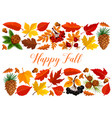 happy fall banner with autumn leaf border vector image vector image