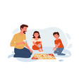 happy family play board game with cards at home vector image