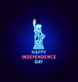 happy independence day neon label vector image