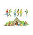 happy people characters having picnic set vector image vector image