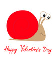 happy valentines day snail icon red shell house vector image vector image