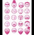 icon set 20 mans faces pink half vector image vector image