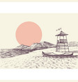 lifeguard tower on the beach drawing vector image