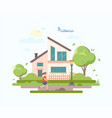 lovely house - modern flat design style vector image vector image