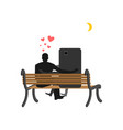 lover of gadgets man and smartphone sitting on vector image vector image