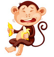 monkey holding banana crying vector image vector image