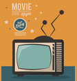 movie night card televison device vintage vector image