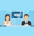 news anchor on tv vector image vector image