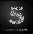 number five logo silver dots alphabet logotype vector image