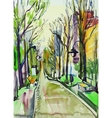 original watercolor painting of city park vector image vector image