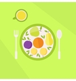 Plate with fruits and glass of juice on a table vector image vector image