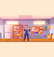 repairman in garage with equipment for carpentry vector image