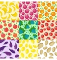 set fruits and vegetables seamless patterns vector image vector image