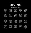 set line icons diving vector image vector image