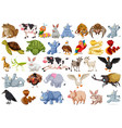 set of animal charcter vector image vector image
