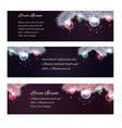 set of christmas horizontal banners with fir-tree vector image