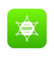 sheriff badge icon digital green vector image vector image