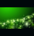 shiny green background with sparkle and bokeh vector image vector image