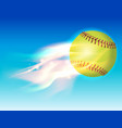 softball on fire in sky vector image vector image