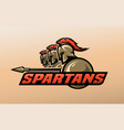 spartan warriors logo symbol vector image