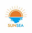sun and sea logo design template vector image vector image