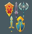 swords shields axe for fantasy game vector image vector image