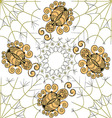 The graphic pattern of gold spiders on the web vector image